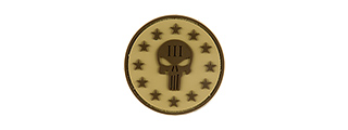 G-FORCE PUNISHER THREE PERCENTER ROUND PVC MORALE PATCH (TAN)