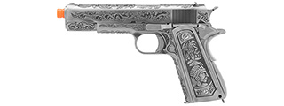 WE Tech Full Metal Gas Blowback Floral Pattern 1911 (SILVER)