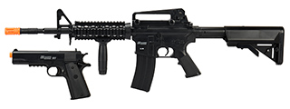 Sig Sauer Patrol Kit w/ Spring Pistol & M4 AEG Airsoft Rifle [7500 BBs Included]- BLACK