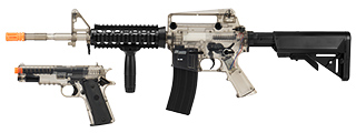 Sig Sauer Patrol Kit w/ Spring Pistol & M4 AEG Airsoft Rifle [5000 BBs Included] (CLEAR)