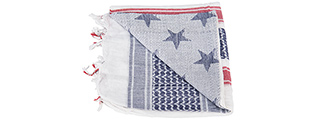 Lancer Tactical Multi-Purpose Shemagh Face Head Wrap w/ Blue Stars (WHITE / BLUE / RED)
