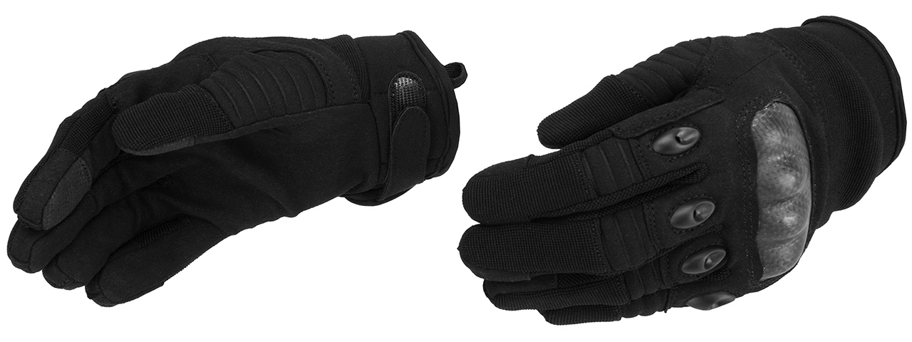 Lancer Tactical Kevlar Airsoft Tactical Hard Knuckle Gloves [SMALL] (BLACK)