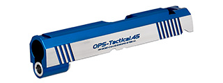 Airsoft Masterpiece OPS-Tactical .45 Standard Slide for TM Hi-Capa 4.3 GBB Pistols (BLUE/SILVER)