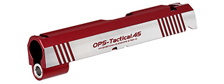Airsoft Masterpiece OPS-Tactical .45 Standard Slide for TM Hi-Capa 4.3 GBB Pistols (RED/SILVER)