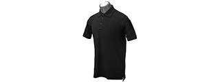 Lancer Tactical Polyester Fabric Polo Shirt [X-Small] (BLACK)