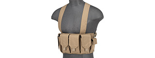 Rugged Tactical Chest Rig w/ 6X Magazine Pouches [1000D] (TAN)