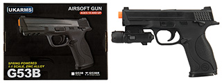 UK ARMS G53 Airsoft Spring Pistol w/ Laser (BLACK)
