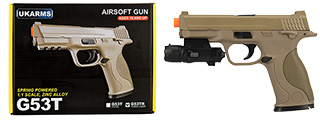 UK ARMS G53 Airsoft Spring Pistol w/ Laser (TAN)
