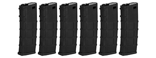 Lonex 200rd Mid Capacity M4/M16 Polymer Airsoft Magazine [6 Pack] (BLACK )