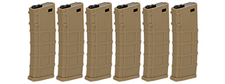 Lonex 30rd Low Capacity M4 AEG Polymer Airsoft Magazine [Pack of 6] (TAN)