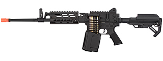 Golden Eagle MCR Light Machine Gun LMG Airsoft AEG Rifle [Long Barrel] (BLACK)