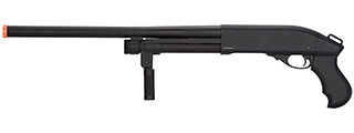 Golden Eagle M870 3/6-Shot Pump Action Gas Airsoft Shotgun w/ Forend Grip (BLACK)