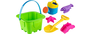 Colorful Sandy Beach Toy Set w/ Bucket, Shovel and Sand Molds