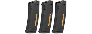 KWA 30/120rd MS120C Mid Capacity Airsoft Rifle Magazine [3 Pack] (BLACK)