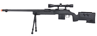 WellFire MB4416 M40A3 Bolt Action Sniper Rifle w/ Scope & Bipod (BLACK)