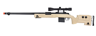 WellFire MB4417 M40A3 Bolt Action Airsoft Sniper Rifle w/ Scope (TAN)