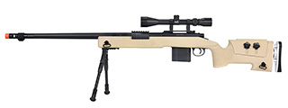 WellFire MB4417 M40A3 Bolt Action Airsoft Sniper Rifle w/ Scope & Bipod (TAN)