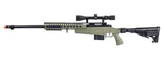 WellFire MB4418-1 Bolt Action Airsoft Sniper Rifle w/ Scope (OD GREEN)