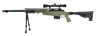 WellFire MB4418-1 Bolt Action Airsoft Sniper Rifle w/ Scope & Bipod (OD GREEN)