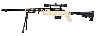 WellFire MB4418-1 Bolt Action Airsoft Sniper Rifle w/ Scope & Bipod (TAN)