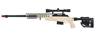 WellFire MB4418-2 Bolt Action Airsoft Sniper Rifle w/ Scope (TAN)