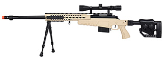 WellFire MB4418-2 Bolt Action Airsoft Sniper Rifle w/ Scope & Bipod (TAN)