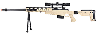 WellFire MB4418-3 Bolt Action Airsoft Sniper Rifle w/ Scope & Bipod (TAN)