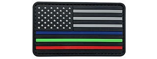 G-Force US Flag w/ Blue, Red, Green Line PVC Morale Patch (BLACK/GRAY)