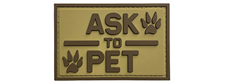 "G-Force ""Ask To Pet"" PVC Morale Patch (TAN)"