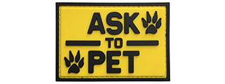 "G-Force ""Ask To Pet"" PVC Morale Patch (YELLOW)"