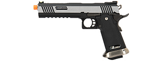 WE Tech 1911 Hi-Capa T-Rex Competition Gas Blowback Airsoft Pistol w/ Sight Mount & Top Ports (TWO TONE / SILVER)