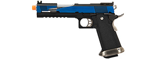 WE Tech 1911 Hi-Capa T-Rex Competition Gas Blowback Airsoft Pistol w/ Top Ports (BLUE / SILVER)