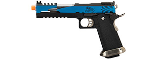 WE Tech 1911 Hi-Capa T-Rex Competition Gas Blowback Airsoft Pistol w/ Top Vent (BLUE / SILVER)