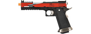 WE Tech 1911 Hi-Capa T-Rex Competition Gas Blowback Airsoft Pistol w/ Top Vent (RED / SILVER)