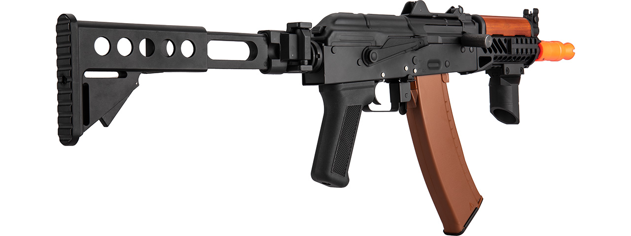 Double Bell AK74U AEG Airsoft Rifle w/ Retractable Folding Stock (BLACK / WOOD)