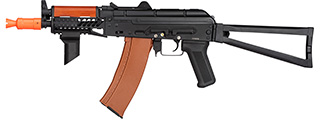 Double Bell AK74U AEG Airsoft Rifle w/ Folding Wire Stock [LiPo Ready] (BLACK / WOOD)