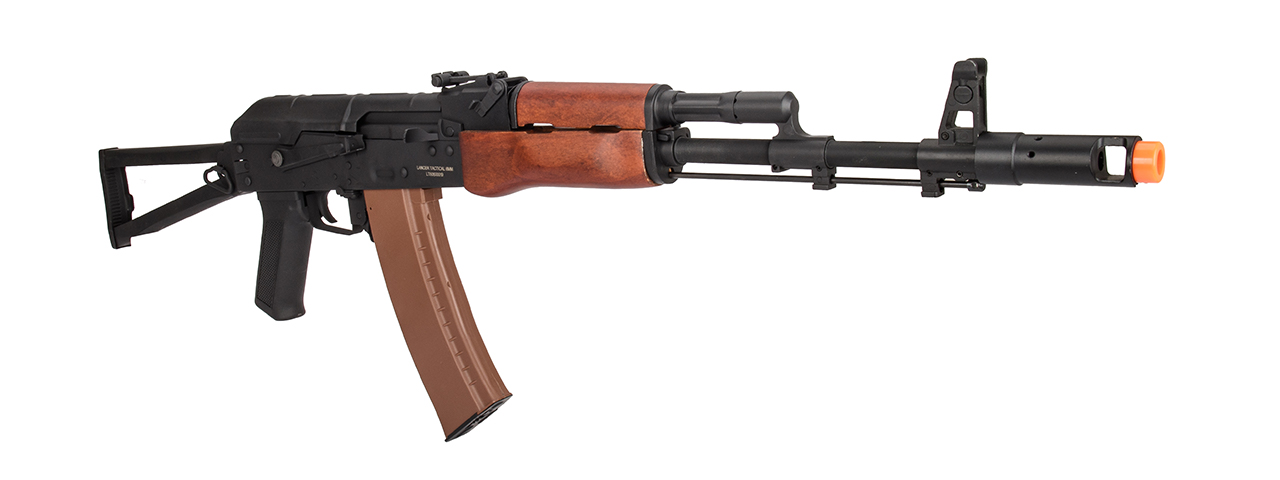 Lancer Tactical AK-Series AK-74N AEG Airsoft Rifle w/ Skeleton Folding Stock (Real Wood Furniture)