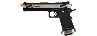 "WE-Tech Hi-Capa 6"" IREX Competition Full Auto Gas Blowback Airsoft Pistol (Black / Silver / Gold Barrel)"