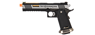"WE-Tech Hi-Capa 6"" IREX Full Auto Competition GBB Airsoft Pistol (Black / Silver / Gold Barrel / With Markings)"