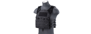 Lancer Tactical Lightweight Molle Tactical Vest with Retention Cords (Color: Black)