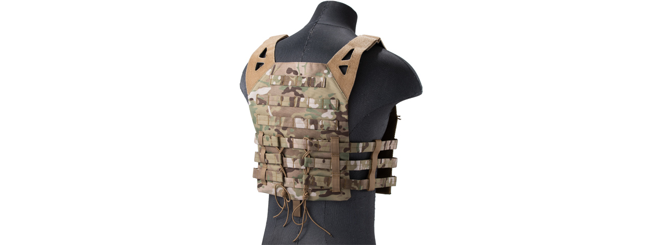 Lancer Tactical Lightweight Molle Tactical Vest with Retention Cords (Color: Camo)