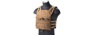 Lancer Tactical Lightweight Molle Tactical Vest with Retention Cords (Color: Tan)