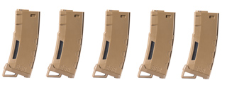 Lancer Tactical 130 Round High Speed Mid-Cap Magazine Pack of 5 (Tan)
