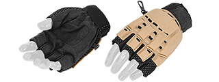 Lancer Tactical Half Finger Paintball Glove (Color: Tan / Size: XL)