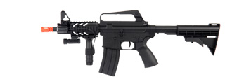 WELL AIRSOFT M16A5 CQB SPRING RIFLE W/ LASER, FOREGRIP - BLACK