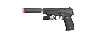 G26A Spring Pistol w/ Laser & Suppressor (Black)