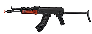LCT-MG-MS-AEG LCT Airsoft Stamped Steel AK-74 w/ Fold Stock (Black / Wood)