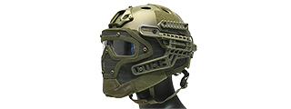 AC-820G WOSPORT TACTICAL G4 SYSTEM BUMP HELMET MASK W/ GOGGLES (OLIVE DRAB)