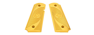 AIRSOFT MASTERPIECE ALUMINUM AIRSOFT 1911 TYPE 2 PISTOL GRIP PLATES (GOLD)