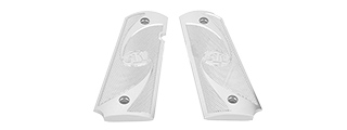 AIRSOFT MASTERPIECE ALUMINUM AIRSOFT 1911 TYPE 2 PISTOL GRIP PLATES (SILVER)